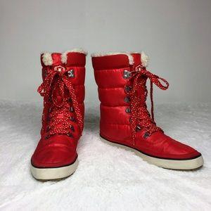 Keds Red Cream Puff Ski Boots